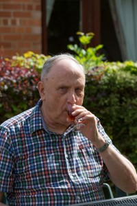 Our gorgeous Brian enjoying a sherry in the garden